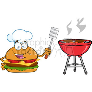 illustration chef burger cartoon mascot character holding a slotted spatula by a barbecue vector illustration isolated on white background clipart. Royalty-free image # 399480