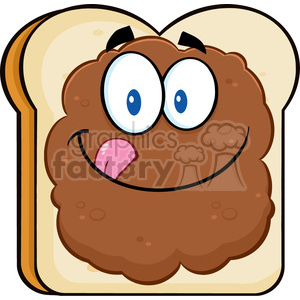 illustration toast bread slice cartoon character licking his lips with peanut butter vector illustration isolated on white background 01 clipart. Royalty-free image # 399530