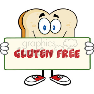 illustration bread slice cartoon mascot character holding a sign vector illustration with text gluten free isolated on white background clipart. Royalty-free image # 399540