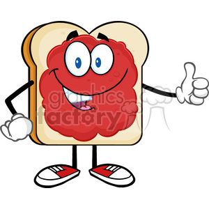 illustration smiling bread slice cartoon character with jam giving a thumb up vector illustration isolated on white background clipart. Commercial use image # 399550