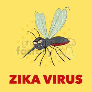 royalty free rf clipart illustration mosquito cartoon character flying vector illustration with background with text zika virus clipart. Commercial use image # 399615