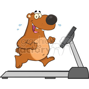 royalty free rf clipart illustration smiling brown bear cartoon character running on a treadmill vector illustration isolated on white clipart. Royalty-free image # 399645