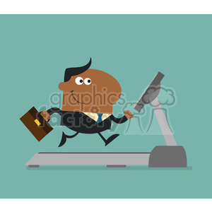royalty free rf clipart illustration african american businessman cartoon character with briefcase running on a treadmill modern flat design vector illustration clipart. Royalty-free image # 399655