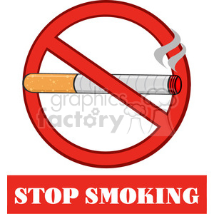 royalty free rf clipart illustration no smoking sign with text stop smiking vector illustration isolated on white background clipart. Royalty-free image # 399665