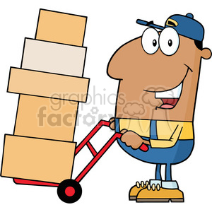 royalty free rf clipart illustration african american delivery man cartoon character using a dolly to move boxes vector illustration with isolated on white clipart. Commercial use image # 399703