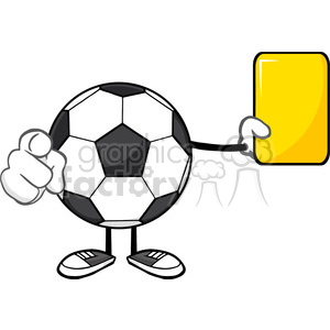 soccer ball faceless cartoon mascot character referees pointing and showing yellow card vector illustration isolated on white background clipart. Royalty-free image # 399713
