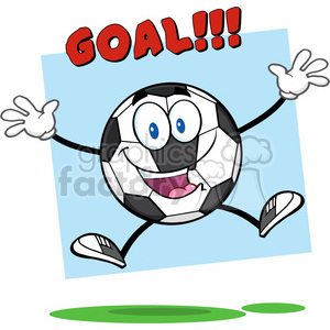 soccer cartoon character ball goal score