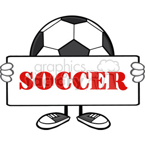 soccer ball faceless cartoon mascot character holding a sign vector illustration with text soccer isolated on white background clipart. Royalty-free image # 399733