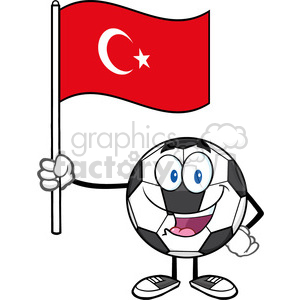 happy soccer ball cartoon mascot character holding a flag of turkey vector illustration isolated on white background clipart. Royalty-free image # 399743