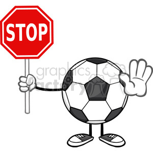 soccer ball faceless cartoon mascot character gesturing and holding a stop sign vector illustration isolated on white background clipart. Royalty-free image # 399753
