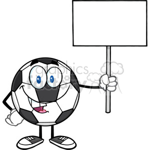 soccer ball cartoon mascot character holding a blank sign vector illustration isolated on white background clipart. Royalty-free image # 399763