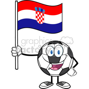 happy soccer ball cartoon mascot character holding a flag of croatia vector illustration isolated on white background