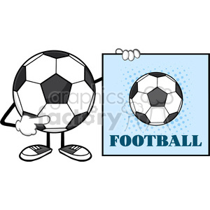 soccer ball faceless cartoon mascot character pointing to a sign with text football vector illustration isolated on white background clipart. Commercial use image # 399783
