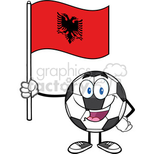 happy soccer ball cartoon mascot character holding a flag of albania vector illustration isolated on white background