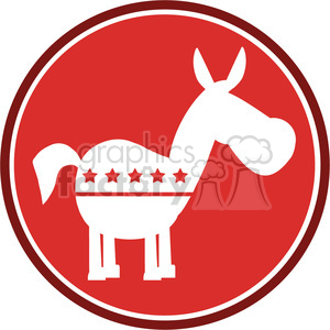 democrat donkey red circle label vector illustration flat design style isolated on white clipart. Commercial use image # 399823
