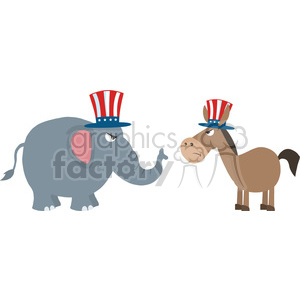 angry political elephant republican vs donkey democrat vector illustration flat design style isolated on white