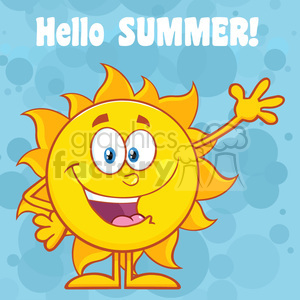 10108 happy sun cartoon mascot character waving for greeting with text hello summer vector illustration with blue background clipart. Royalty-free image # 399894
