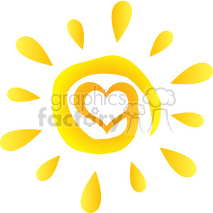 abstract sun with heart simple design with gradient vector illustration isolated on white background clipart. Royalty-free image # 399904