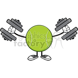 tennis ball faceless cartoon mascot character working out with dumbbells vector illustration isolated on white background clipart. Royalty-free image # 399934