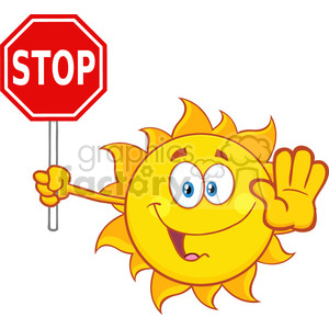 cute sun cartoon mascot character gesturing and holding a stop sign vector illustration isolated on white background clipart. Royalty-free image # 399944