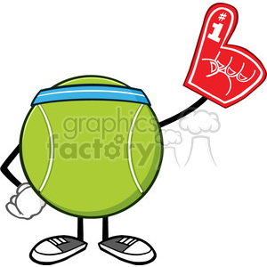 tennis ball faceless cartoon mascot character wearing a foam finger vector illustration isolated on white background clipart. Royalty-free image # 399964
