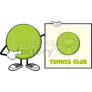 tennis ball faceless cartoon mascot character pointing to a sign tennis club vector illustration isolated on white background clipart. Royalty-free image # 399974