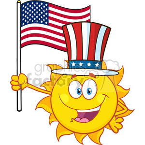 cute sun cartoon mascot character with patriotic hat holding an american flag vector illustration isolated on white background clipart. Royalty-free image # 399984