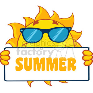 cute sun cartoon mascot character holding a sign with text summer vector illustration isolated on white background clipart. Royalty-free image # 399994