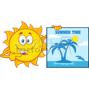 talking sun cartoon mascot character pointing to a poster sign with tropical island and text summer time vector illustration isolated on white background clipart. Royalty-free image # 400004