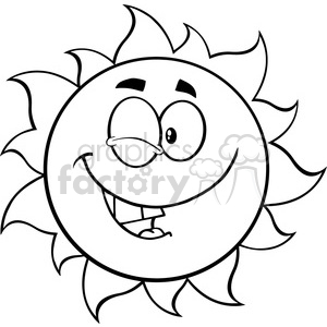black and white winking sun cartoon mascot character vector illustration isolated on white background clipart. Commercial use image # 400024
