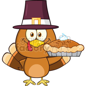 cute pilgrim turkey bird cartoon character holding a pie vector illustration isolated on white clipart. Commercial use image # 400054
