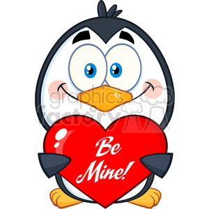 cute penguin cartoon character holding a be mine valentine heart vector illustration isolated on white clipart. Royalty-free image # 400064