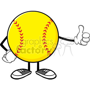 softball faceless cartoon mascot character giving a thumb up vector illustration isolated on white background clipart. Royalty-free image # 400104