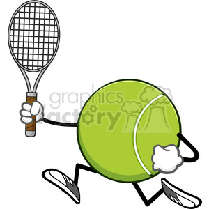 tennis ball faceless cartoon character running with racket vector illustration isolated on white background clipart. Royalty-free image # 400114