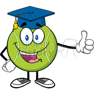 happy tennis ball cartoon mascot character with graduate cap giving a thumb up vector illustration isolated on white clipart. Commercial use image # 400124