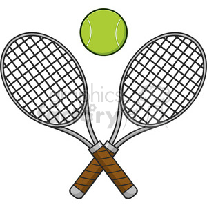 crossed racket and tennis ball vector illustration isolated on white clipart. Royalty-free image # 400134