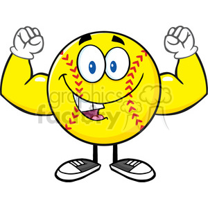 happy softball cartoon mascot character flexing vector illustration isolated on white background clipart. Royalty-free image # 400144