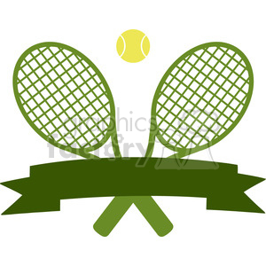 crossed racket and tennis ball logo design green label vector illustration isolated on white clipart. Royalty-free image # 400164