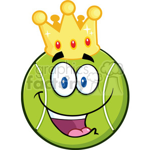 happy tennis ball cartoon character with a golden crown vector illustration isolated on white clipart. Royalty-free image # 400184