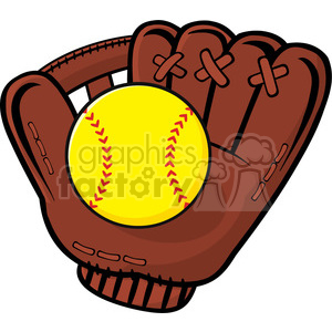 baseball glove and yellow softball vector illustration isolated on white background