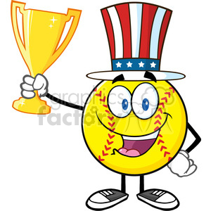 happy softball cartoon character with patriotic hat holding a trophy cup vector illustration isolated on white background clipart. Royalty-free image # 400214