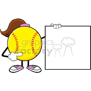 softball girl faceless cartoon mascot character pointing to a banner blank sign vector illustration isolated on white background clipart. Royalty-free image # 400224