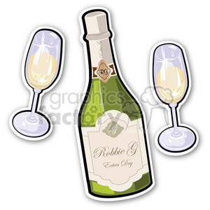 champagne and glass stickers clipart. Commercial use image # 400357