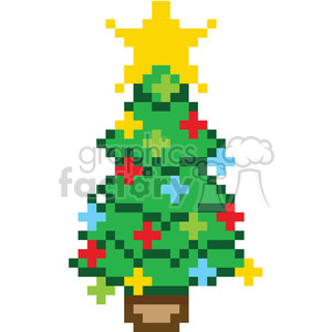 8bit christmas tree clipart. Commercial use image # 400377