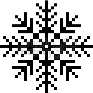 8-bit black snowflake vector clipart. Royalty-free image # 400387