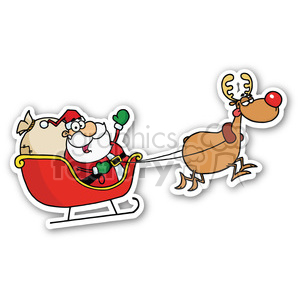 santa in sleigh sticker clipart. Royalty-free image # 400418