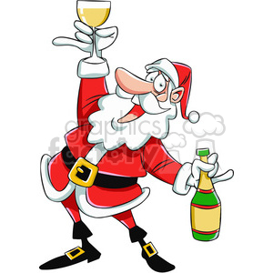 santa drinking chamagne cartoon clipart. Royalty-free image # 400445