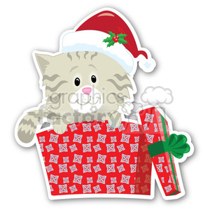 christmas kitten gift sticker clipart. Royalty-free image # 400455