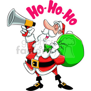 cartoon santa with a megaphone saying ho ho ho clipart. Royalty-free image # 400471