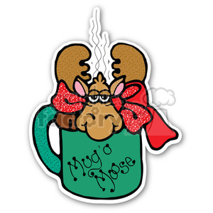 christmas mouse mug sticker clipart. Royalty-free image # 400477